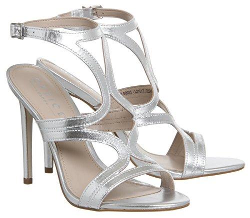 Office Harrogate Strappy Single Sole Heels Silver Leather lVE5LW