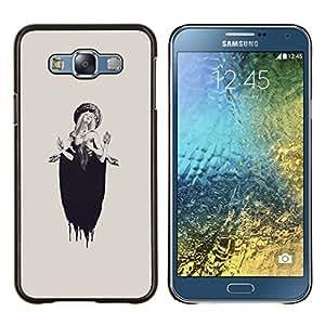 EJOOY---Cubierta de la caja de protección para la piel dura ** Samsung Galaxy E7 E700 ** --Lucia Mujer Beige Tinta Profunda