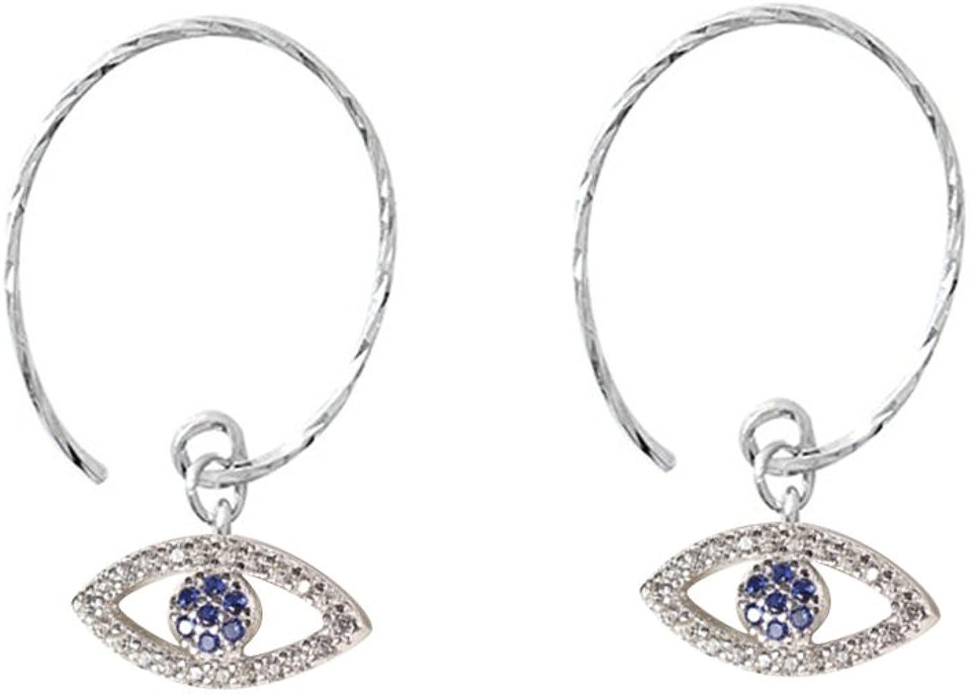 earring hooks are sterling silver 925 Evil Eye Dangle wrapped seed bead earrings