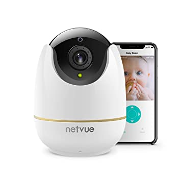 NETVUE Home Security Camera, Work with Alexa Echo show 360 degree View,  Wireless IP Camera with Motion Detection P/T/Z, TF Card Record, 2 Way Audio