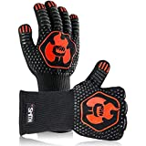 Mr. Smith BBQ Grill Gloves. Oven Mitts Protect to 1472 ºF. Extreme Heat Resistant Gloves Multiple Advanced Layers, Comfortable Cotton Inside, Non-Slip Grip Safe, Speedy Grilling & Kitchen.