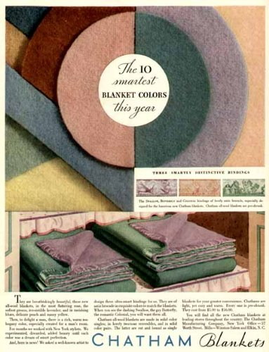 The 10 Smartest Blanket Colors in 1931 Chatham Blankets Full-Color Advertisement Original Paper Ephemera Authentic Vintage Print Magazine Ad/Article
