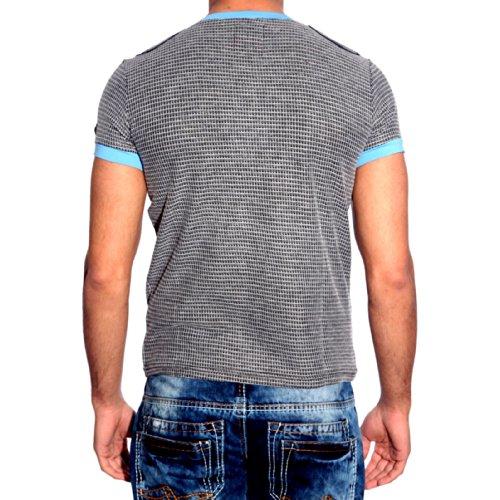 Herren T-Shirt V Neck Schwarz Blau Schwarz Braun SMLXLXXL Kurzarm Kontrast 6684, Größe:S, Farbe:Blau