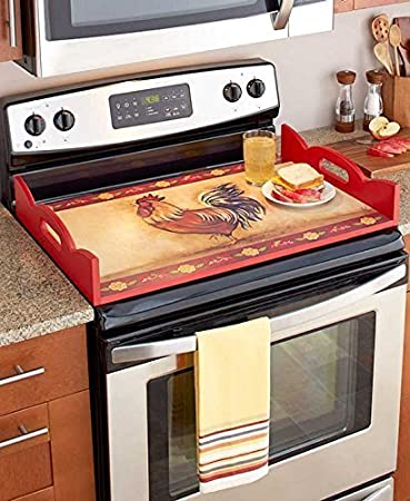 Decorative Wooden Stove Top Cover (Red)
