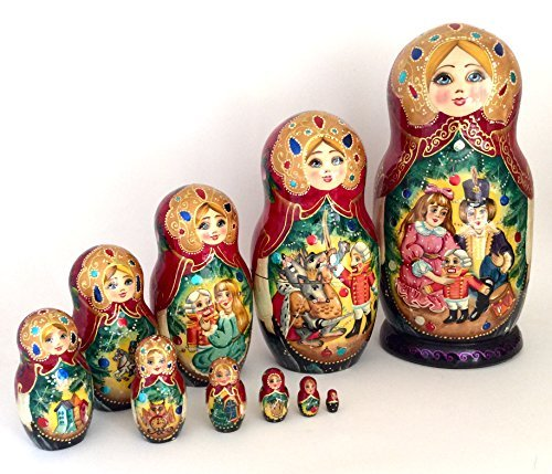 Nutcracker Russian Nesting doll Hand Painted 10 piece Fairy tale unique matryoshka art set