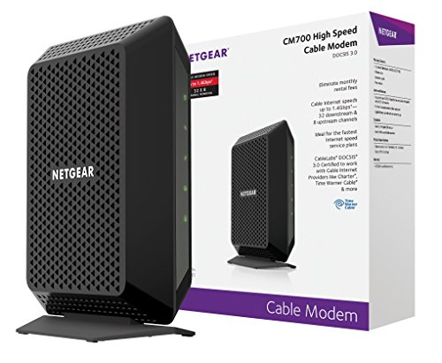 NETGEAR CM700 (32x8) DOCSIS 3.0 Cable Modem. Max download speeds of 1.4Gbps. Certified for XFINITY by Comcast, Time Warner Cable, Charter, & more (CM700) by NETGEAR