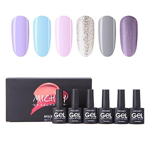 Soak Off Gel Nail Polish Set, MIYOUNE Light Colors Glitter Combo Gel Polish kit UV LED Nail Varnish Set (Best Nail Varnish For Not Chipping)