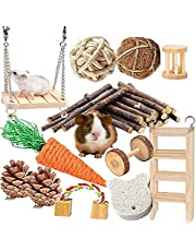 QHZHANG Hamster Chew Toys,12Pcs Natural Wooden Pine Guinea Pig Chew Toys Gerbil Rats Chinchillas Toys Accessories Dumbells Exercise Bell Roller Teeth Care for Birds Bunny Rabbits Gerbils