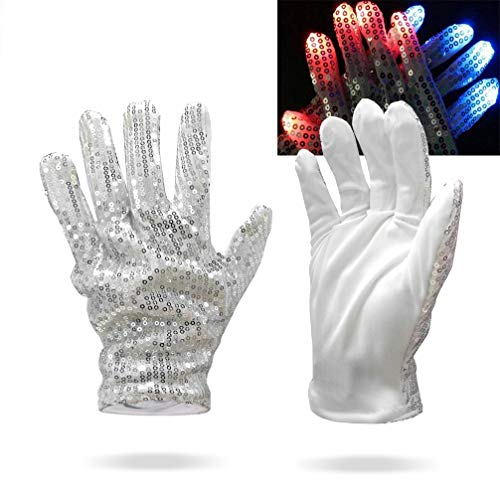 Luwint LED Glow Blink Sequin Finger Glove Lights Up Costume Show Prop Toy for Rave Halloween Party (White Silver) -