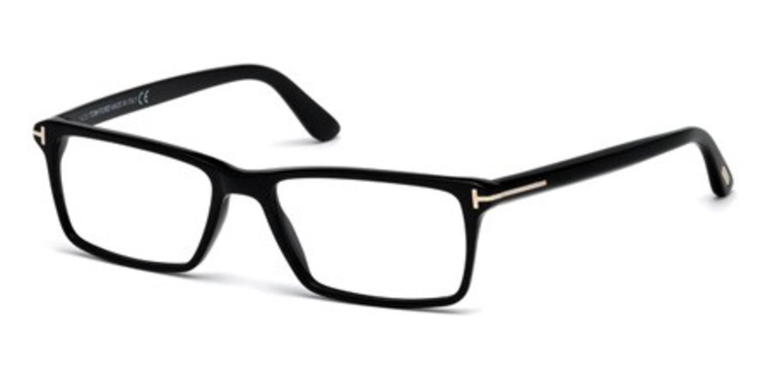 TOM FORD Men's TF 5408 001 Black Clear Rectangular Eyeglasses 56mm, Shiny Black, Shiny Rose Gold ''T'' Logo, 56/16/145 by Tom Ford