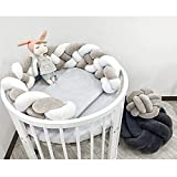 LOAOL Baby Crib Bumper Knotted Braided Plush Nursery Cradle Decor Newborn Gift Pillow Cushion Junior Bed Sleep Bumper (Gray-White, 118