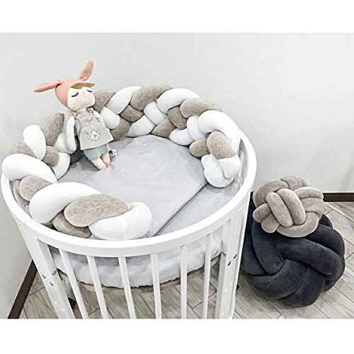 "LOAOL Baby Crib Bumper Knotted Braided Plush Nursery Cradle Decor Newborn Gift Pillow Cushion Junior Bed Sleep Bumper (Gray-White, 118"")"