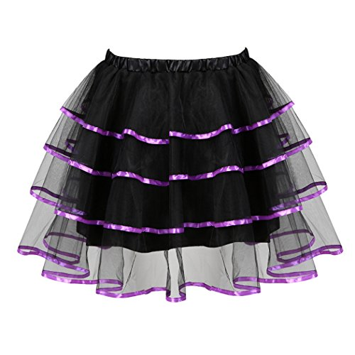 Party Ballerina Tutu Petticoat Purple Dress Mini Multilayer Organza Fluffy Skirt Princess Women's xIqHAwBnf