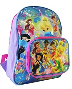 Disney Tinker Bell Backpack W/ Lunch Bag (2 pcs Set) - Full Size Fairies & Tinkerbell Backpack