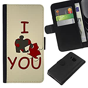 All Phone Most Case / Oferta Especial Cáscara Funda de cuero Monedero Cubierta de proteccion Caso / Wallet Case for HTC One M7 // I love you Cute