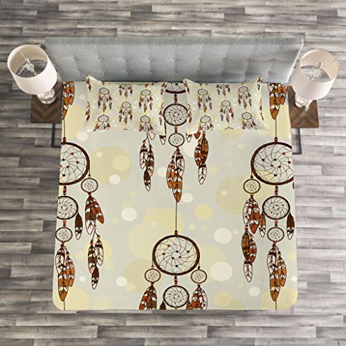 Lunarable Native American Bedspread Set King Size, Illustration of Tribal Style Boho Dreamcatchers in Retro Folk Art, Decorative Quilted 3 Piece Coverlet Set with 2 Pillow Shams, Cream and Chocolate by Lunarable (Image #2)