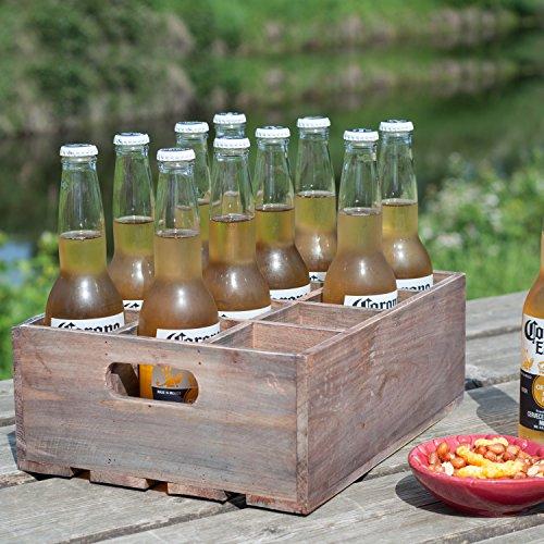Vintage Finish Rustic Brown Wood 12 Slot Beer Bottle Serving Crate / Beer Storage Box w/ Carrying Handles](Vintage Wood Crate)