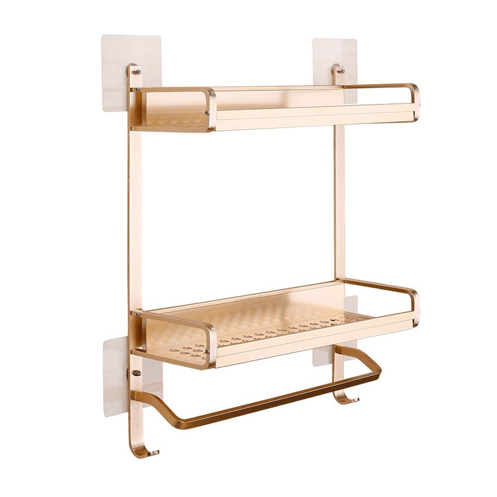Rishx golden Double Layer Space Aluminum Bathroom Rack Punch Free Bathroom Shelf Powerful Suction Cup Storage Basket Holder Kitchen Supplies Organizer Hardware Accessories