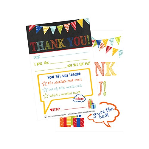 25 Rainbow Banner Kids Thank You Cards, Fill In Thank You Notes For Kid, Blank Personalized Thank Yous For Birthday Gifts, Stationery For Children Boys and Girls