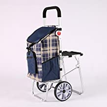 MXXYY Lightweight Aluminum alloy Band Folding Chairs Shopping Trolley Portable 2 Wheel Large Capacity Shoppe , d