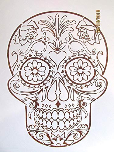 OutletBestSelling Reusable Sturdy Day of The Dead Skull Stencil/Template Reusable 10 mil]()
