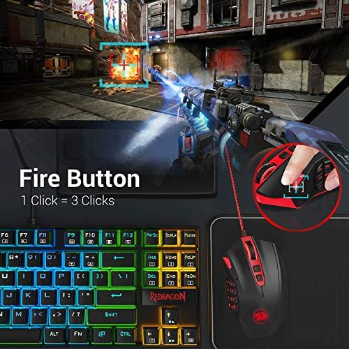 Redragon M901 Wired Gaming Mouse, MMO RGB LED Backlit Computer Mice, 12400 DPI Perdition with 18 Programmable Buttons, Weight Tuning Set for Windows PC Gaming (Black) 51K8b9t4ndL