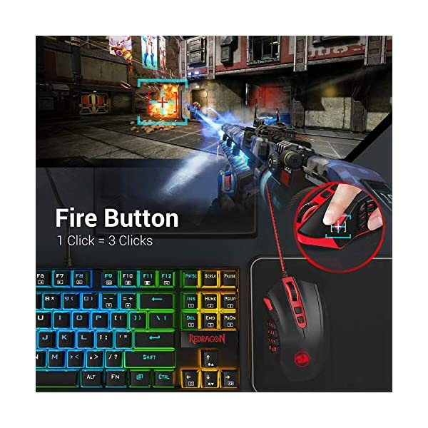 Redragon M901 Wired Gaming Mouse MMO RGB LED Backlit Mice 12400 DPI Perdition with 18 Programmable Buttons Weight Tuning…