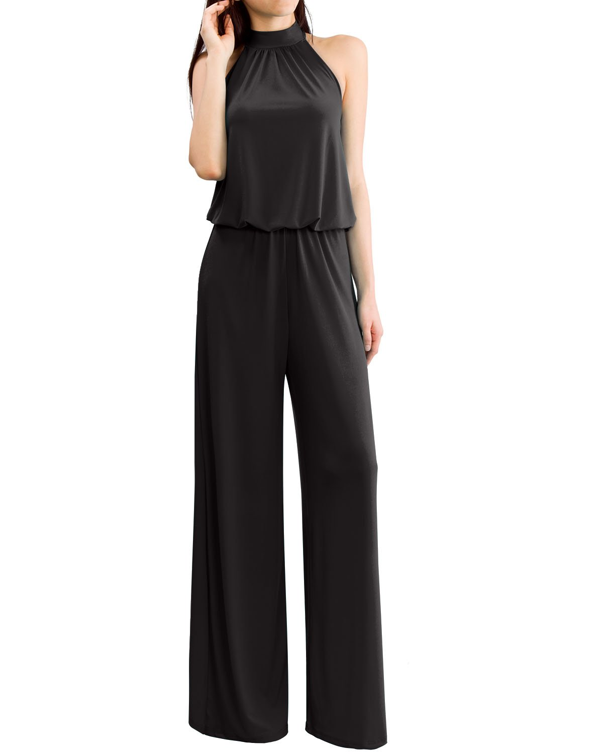 Women's Sleeveless Mock Neck Tie Back Solid Jumpsuits and Rompers