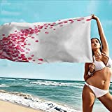 Beihai1Sun Athletic Towel,Pink and White White Background with Vibrant Rose Petals Vortex with Realistic Look,for Family Guest Bathrooms Gym,W63x31L, Magenta White