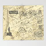 Society6 Parisian French Script Throw Blankets 88'' x 104'' Blanket