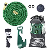 Expandable Garden Water Hose 50ft - Best Auto Expanding & Contracting, as Seen on TV Incredible Deluxe Set: 9-Way Nozzle, Holder, Heavy Duty Top Brass Fittings, Metal Valve, Washers and Bag by HedgX