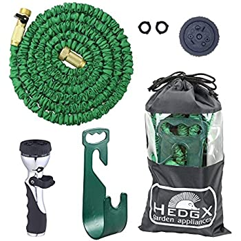 Expandable Garden Water Hose 50ft - Best Auto Expanding & Contracting, as Seen on TV. Incredible Deluxe Set: 9-Way Nozzle, Holder, Heavy Duty Top Brass Fittings, Metal Valve, Washers and Bag by HedgX