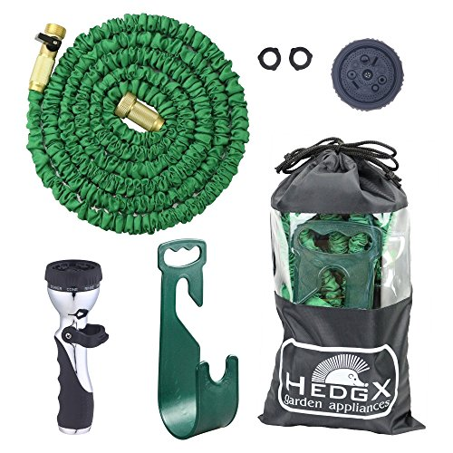 HedgX Expandable Water Hose 50ft - Best Auto Expanding & Contracting, as Seen on TV. Incredible Deluxe Garden Set: 9-Way Nozzle, Holder, Heavy Duty Top Brass Fittings, Metal Valve, 2 Washers and Bag! (Appliance End Fitting)