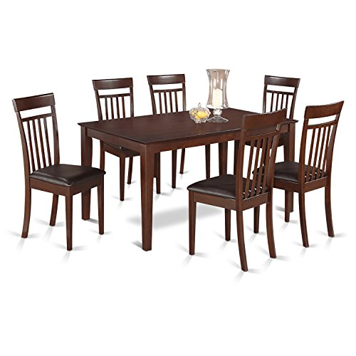 East West Furniture CAP7S-MAH-LC 7 PC Room Set-Dinette Table and 6 Dining Chairs, Faux Leather Seat, Mahogany Finish