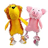 #9: UOLIWO Squeaky Pig Toys for Dogs, Durable Puppy Squeaky Dog Toys Stuffed Animal Plush and Oxford Dog Chew Toy with Rope Legs and 3 Squeakers for Small and Medium Dogs (2pcs(Monkey and Pig))