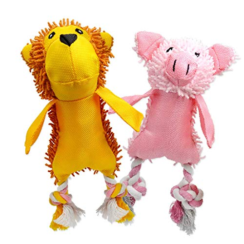 UOLIWO Squeaky Pig Toys for Dogs, Durable Puppy Squeaky Dog Toys Stuffed Animal Plush and Oxford Dog Chew Toy with Rope Legs and 3 Squeakers for Small and Medium Dogs (2pcs(Monkey and Pig))