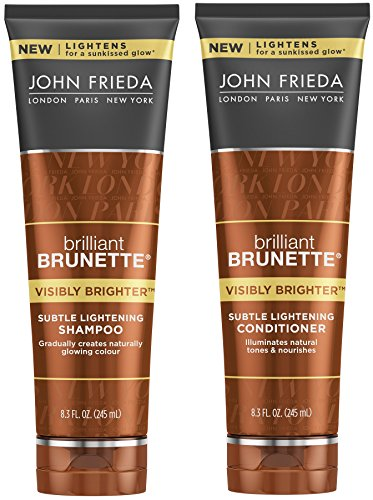 John Frieda Brilliant Brunette Visibly Brighter Bundle: Subtle Lightening Shampoo & Conditioner, 8.3 Ounce Each
