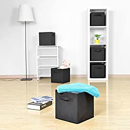 Collapsible Storage Bins, MaidMAX Set of 6 Foldable Nonwoven Cloth Organizers Basket Cubes with Dual Handles for Gift, Black