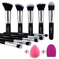 BEAKEY Set de cepillos para maquillaje, Brochas de maquillaje para maquillaje de brocha para la sombra Kabuki Base de maquillaje sintético de primera calidad con esponja licuadora y limpiador de cepillos (10 + 2 piezas, negro /plateado)