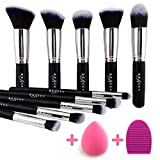 BEAKEY Makeup Brush Set, Premium Synthetic Kabuki Foundation Face Powder Blush Eyeshadow Brushes Makeup Brush Kit with Blender Sponge...