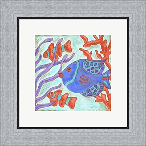 Nancy Slocum Pop - Pop Fish I by Nancy Slocum Framed Art Print Wall Picture, Flat Silver Frame, 16 x 15 inches