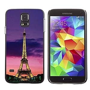 Be Good Phone Accessory // Dura Cáscara cubierta Protectora Caso Carcasa Funda de Protección para Samsung Galaxy S5 SM-G900 // Tower Architecture Lights Sky Night Paris