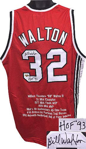 Bill Walton Signed Red TB Custom Stitched Basketball Jersey HOF 93 w Embroidered Stats XL