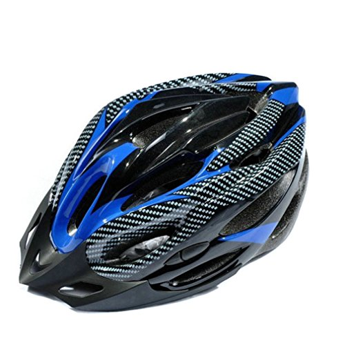 20 Air Vents Sports Road Bicycle Cycling Safety Helmet with Visor Carbon Fiber (Blue)