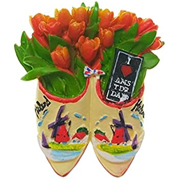 Tulips In The Wooden Shoes Amsterdam Holland Netherlands Souvenir 3d Resin Fridge Magnet Craft Gift Idea