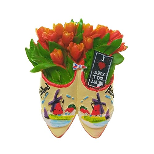 Tulips in the wooden shoes, Amsterdam Holland Netherlands Souvenir 3D Resin Fridge Magnet Craft Gift Idea