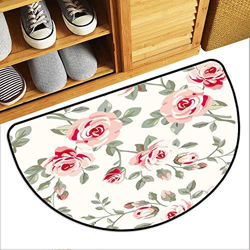 (Half Round Door Mat Wallpaper with Roses Garage Entry Carpet Decor W23xH15 INCH)