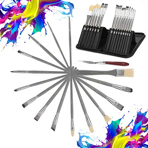 Premium Artist Paint Brushes Set 15 Different Shape Painting Brush Kit (Including 1 Extra Wide Brush) with Pop-up Carrying case for Kids, Adults, Artists