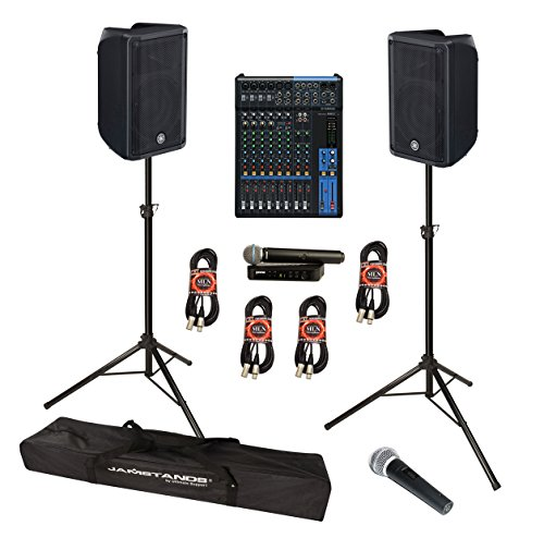 Yamaha DBR10 700-Watt Powered Speaker Bundle with Yamaha MG12 Mixing Console, Shure BLX24/PG58 Wireless Microphone System and Accessories - Portable Sound System (11 Items)