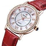 Fanmis Luxury Quartz Sport Women Red Leather Strap Diamonds Watches Rose Gold White Luminous Pointer